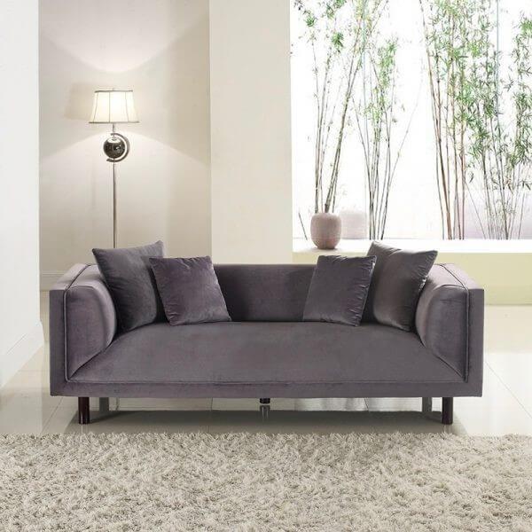 Modern 3 Seat Grey Velvet Sofa